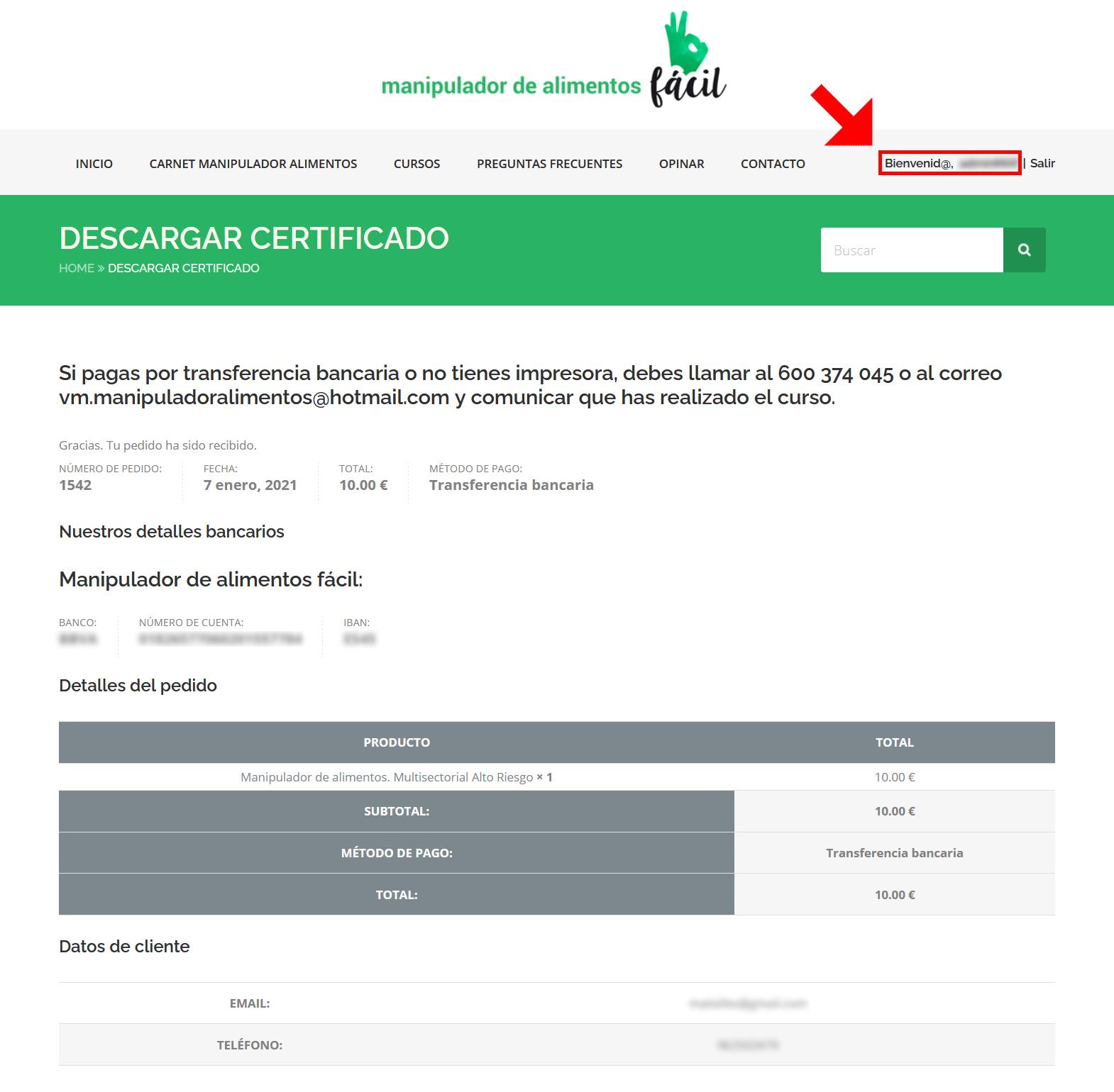 Descargar certificado - Paso 1